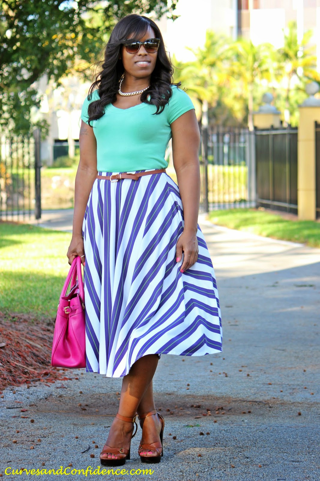 Work & Play: Striped Midi Skirt - Curves and Confidence