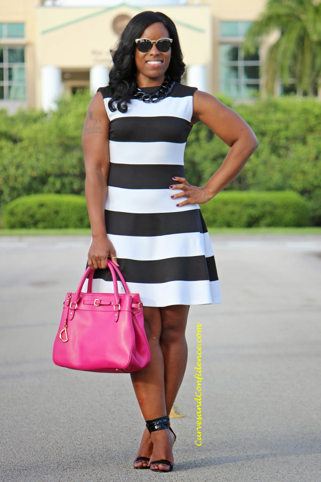 Fit And Flare Bold Stripes Curves And Confidence