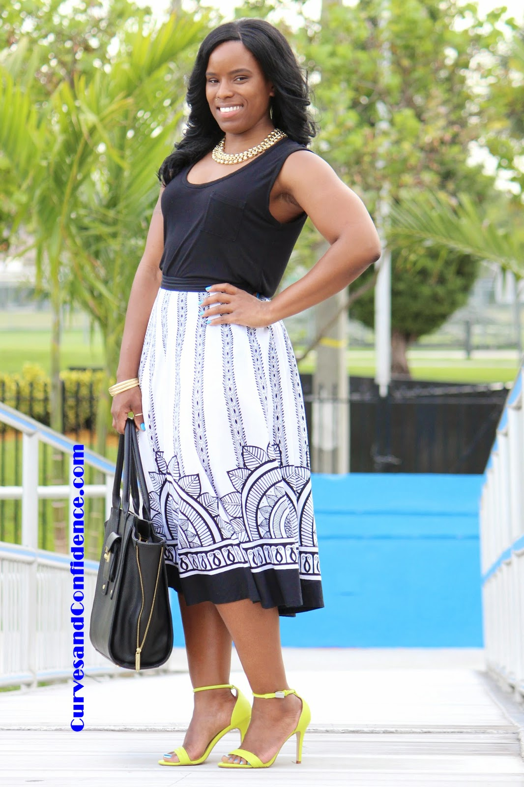 Shirts and midi skirts curves and confidence