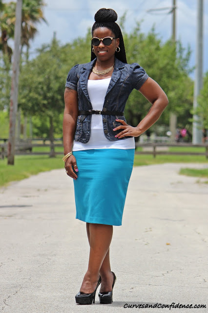 how to wear a denim pencil skirt casually